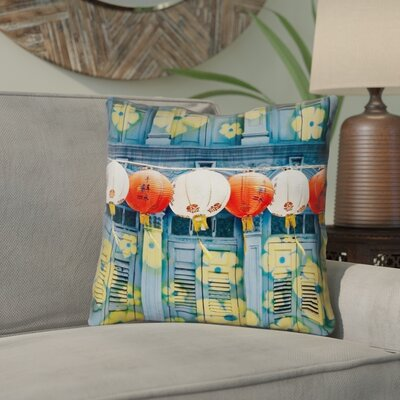 Akini Lanterns in Singapore Square Throw Pillow Size: 14 x 14