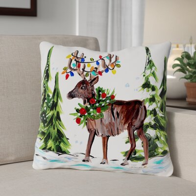Reindeer in Forest Throw Pillow Size: 18 x 18