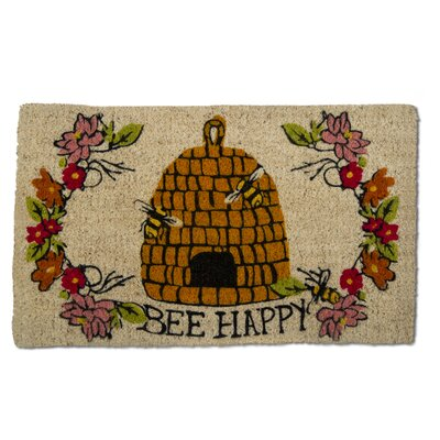 Bee Happy Coir Doormat