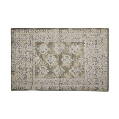 Medallion Hand-Woven Cotton Beige Area Rug