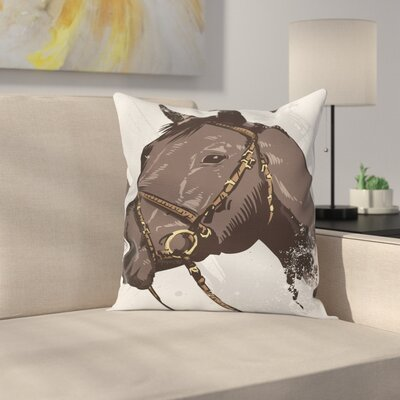 Equestrian Wild Horse Portrait Cushion Pillow Cover Size: 20 x 20