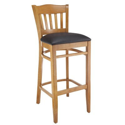 Fatuberlio 30 Bar Stool Upholstery Color: Black, Frame Color: Cherry