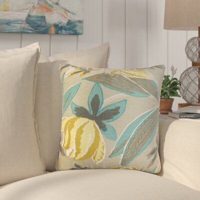 Bryleigh Floral Cotton Throw Pillow Color: Gray Stone, Size: 24 x 24