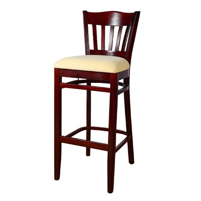Fatuberlio 30 Bar Stool Upholstery Color: Cream, Frame Color: Dark mahogany