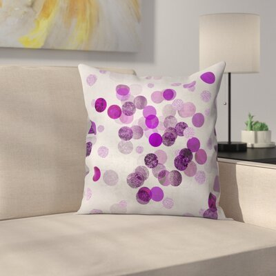 Shimmering Dots Throw Pillow Size: 18 x 18, Color: Blue Gray/Violet/Violet/Maximum Purple