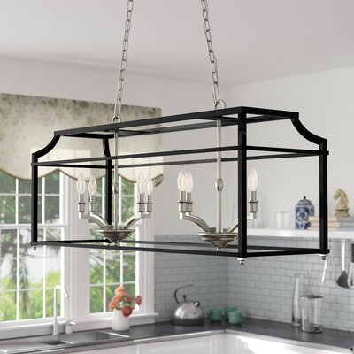 Bartley 8-Light Steel Kitchen Island Pendant Finish: Black