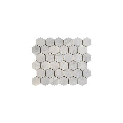 Imperial Carrara Hexagon 2 x 2 Marble Mosaic Tile in White