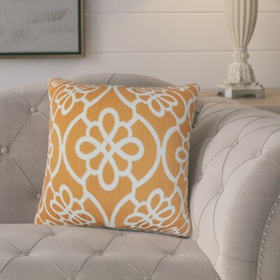 Adalric Geometric Cotton Throw Pillow Color: Orange