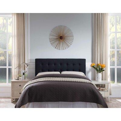Frary Upholstered Panel Headboard Upholstery: Black