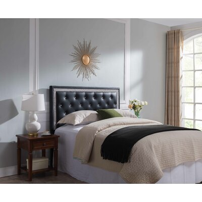 Mcmorris Diamond Upholstered Panel Headboard Upholstery: Black