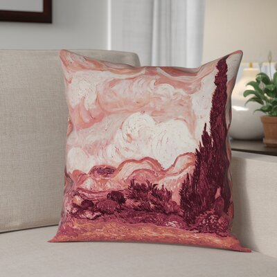 Belle Meade Wheatfield with Cypresses Square Pillow Cover Color: Red, Size: 14 x 14