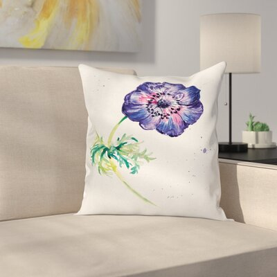 Anemone Branch of Square Cushion Pillow Cover Size: 24 x 24