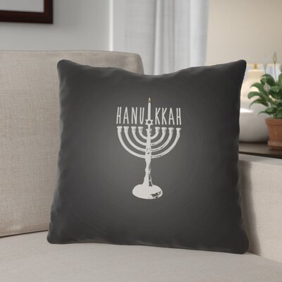 Hanukkah Indoor/Outdoor Throw Pillow Size: 20 H x 20 W x 4 D, Color: Black/White