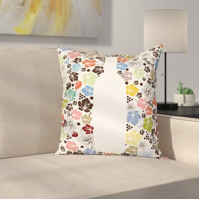 Wine Fallen Leaves Dots Bottle Square Pillow Cover Size: 16 x 16