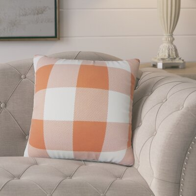 Ronzi Plaid Down Filled 100% Cotton Throw Pillow Size: 24 x 24, Color: Orange