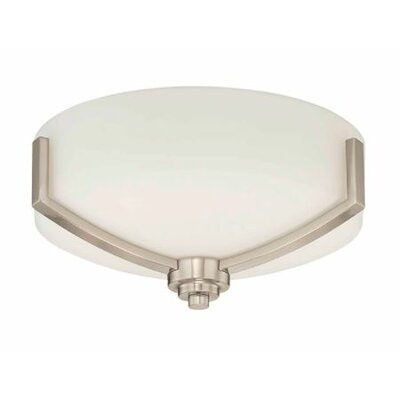 Arrington 2-Light Flush Mount Fixture Finish: Nickel, Shade Color: White
