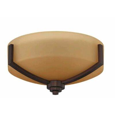 Arrington 2-Light Flush Mount Fixture Finish: Bronze, Shade Color: Brown