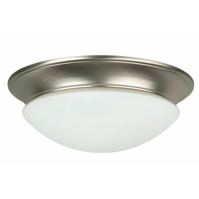Babcock 2-Light Flush Mount Fixture Finish: Satin Nickel, Size: 4.44 H x 14 W x 14 D