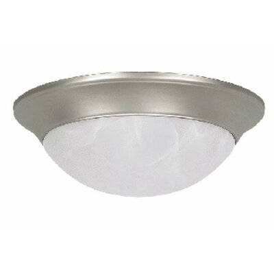 Siano 2-Light Flush Mount Fixture Finish: Satin Nickel, Size: 4 H x 14 W x 14 D