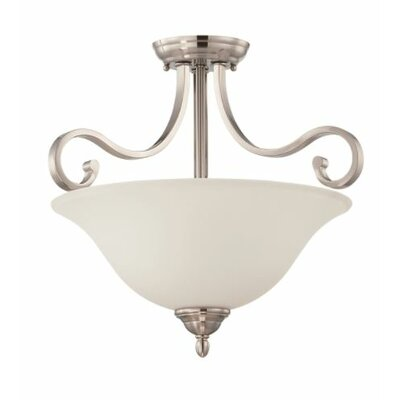 Bublitz 2-Light Semi Flush Mount Fixture Finish: Nickel
