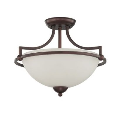 Fenton 2-Light Semi Flush Mount Fixture Finish: Bronze