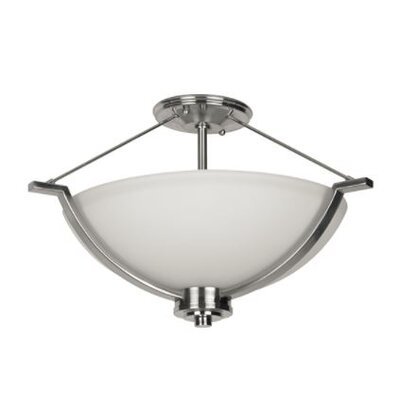 Woolridge 2-Light Semi Flush Mount Fixture Finish: Nickel