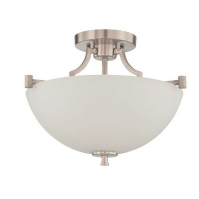 Woosley 2-Light Semi Flush Mount Fixture Finish: Nickel
