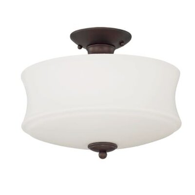 Arnos 2-Light Semi Flush Mount Fixture Finish: Bronze
