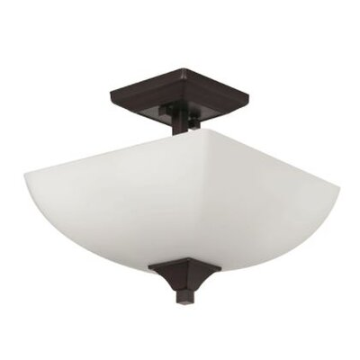 Wooten 2-Light Semi Flush Mount Fixture Finish: Bronze
