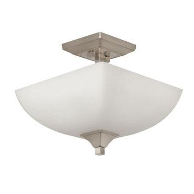 Wooten 2-Light Semi Flush Mount Fixture Finish: Nickel