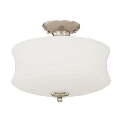 Arnos 2-Light Semi Flush Mount Fixture Finish: Nickel