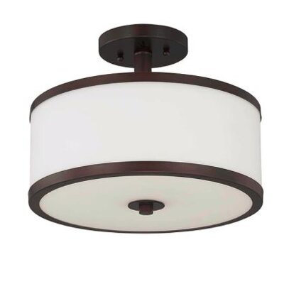 Ecklund 2-Light Semi Flush Mount Fixture Finish: Bronze