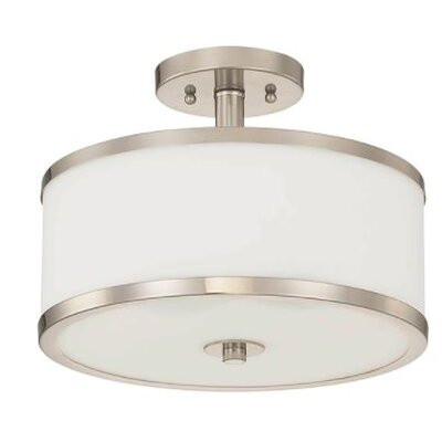 Ecklund 2-Light Semi Flush Mount Fixture Finish: Nickel