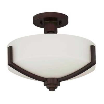 Arrington 2-Light Semi Flush Mount Fixture Finish: Bronze, Shade Color: White