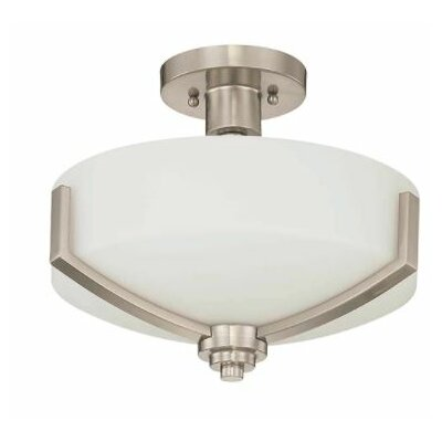 Arrington 2-Light Semi Flush Mount Fixture Finish: Nickel, Shade Color: White