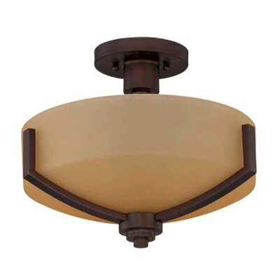 Arrington 2-Light Semi Flush Mount Fixture Finish: Bronze, Shade Color: Brown