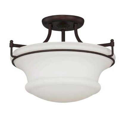Freeborn 2-Light Semi Flush Mount Fixture Finish: Bronze