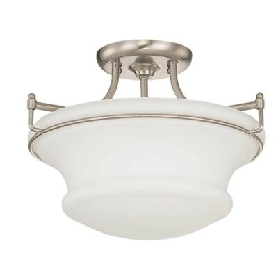 Freeborn 2-Light Semi Flush Mount Fixture Finish: Nickel