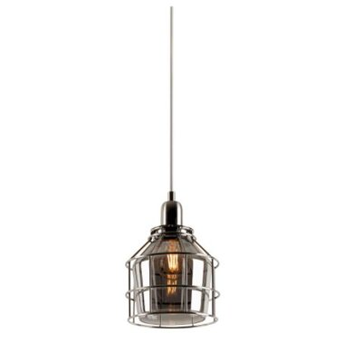 Eddy 1-Light Mini Pendant Finish: Satin Nickel, Shade Color: Smoke