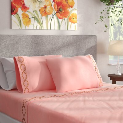 Shelton Embroidered Sheet Set Size: Queen, Color: Rose Quartz