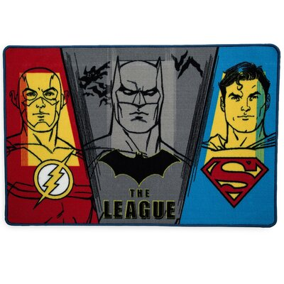 Comics Justice League Red/Blue Area Rug