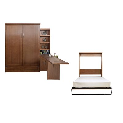 Quinn Queen Murphy Bed with Door Bookcase and Desk Color: Nutmeg