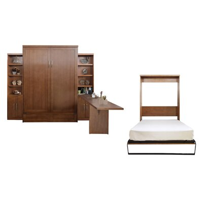 Quinn Queen Murphy Bed with 2 Door Bookcases and Desk Color: Nutmeg