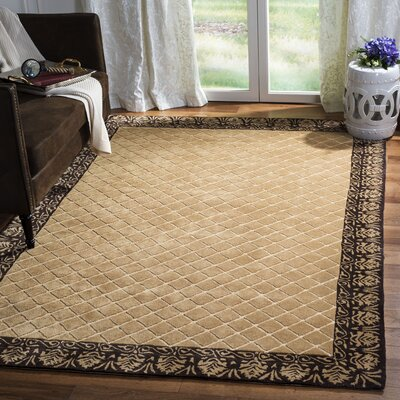 Caine Hand Tufted Ivory/Chocolate Bordered Area Rug Rug Size: Rectangle 6 x 9