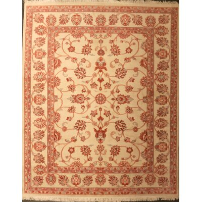 Drewery One-of-a-Kind Indo Kashan Hand-Knotted Wool Beige Area Rug