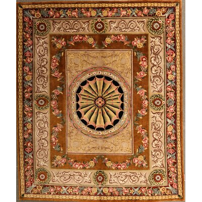 Pursley One-of-a-Kind Indian Savonnerie Hand-Knotted Wool Beige Area Rug