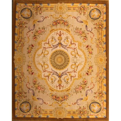 Purington One-of-a-Kind Chinese Savonnerie Hand-Knotted Wool Gold Area Rug