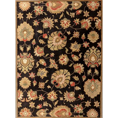 Demartini One-of-a-Kind Indian Floral Hand-Tufted Wool Black Area Rug