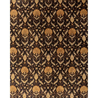 Edison One-of-a-Kind Floral Hand-Tufted Wool Black Area Rug