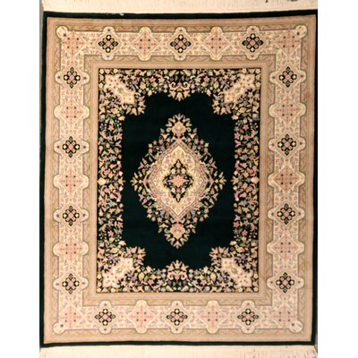 Pyatt One-of-a-Kind Indian Kerman Hand-Knotted Wool Black Area Rug